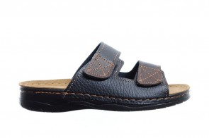 Zwarte 2 Band Slipper Heren Met Velcro